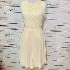 {PIM + LARKIN} Ivory Lace Pleated Skirt Dress